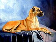 Great Dane Portrait Posters - Magesty Great Dane Poster by Lyn Cook