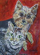 Cat Paw Print Painting Framed Prints - Maggie Mae and Buddy Framed Print by Paintings by Gretzky