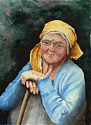 Elderly People Paintings - Maggie by Sam Sidders