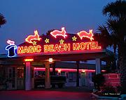 Neon Signs Photos - Magic Beach Motel  by Nada Frazier