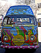 Psychedelic Van Posters - Magic Bus Poster by Debara Splendorio