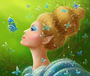 Green Skin Digital Art - Magic butterfly by Alena Lazareva