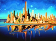 Landscapes Digital Art - Magic City USA - Surrealistic by Peter Art Prints Posters Gallery