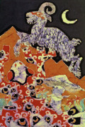 Frogs Tapestries - Textiles Posters - Magic Frog with Goat Poster by Carol  Law Conklin