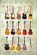 Guitar Photographs Posters - Magic Guitars Poster by Pg Reproductions