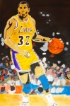 Basketball Painting Posters - Magic Johnson Poster by Estelle BRETON-MAYA