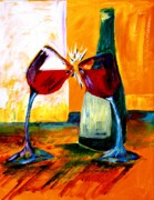 Wine Glasses Paintings - Magic by Julie Lueders