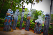 Magic Pyrography Prints - Magic Kingdom - Tiki Statues Print by AK Photography