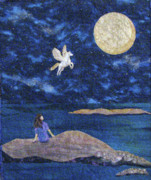 Flying Tapestries - Textiles - Magic Moon by Maureen Wartski