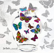 Suni Roveto Prints - Magic Moth Jar Print by Suni Roveto