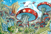 Fantasy Creatures Drawings Prints - Magic Mushroom Forest Print by Luis Peres