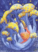 Snail Paintings - Magic Mushrooms by Catherine G McElroy