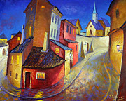 Prague Painting Framed Prints - Magic Night. Pragur Framed Print by Stanislav Sidorov