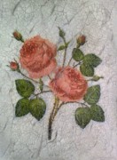 Antique Look Mixed Media - Magic Roses Antique Look Art by Georgeta  Blanaru