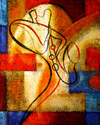 Jazz  Abstract Paintings - Magic Saxophone by Leon Zernitsky