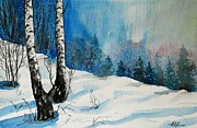 Christmas Greeting Originals - Magic Winter Scene by Alla Dickson