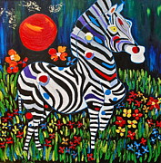 Wild Animal Paintings - Magic Zebra by Dorota Nowak