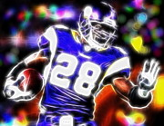 Vikings Mixed Media Prints - Magical Adrian Peterson   Print by Paul Van Scott