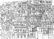 City Buildings Drawings Prints - Magical architecture of Yemen in ink  Print by Lee-Ann Adendorff
