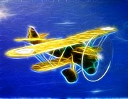 Biplane Drawings - Magical Biplane by Paul Van Scott