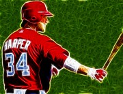 Washington Nationals Prints - Magical Bryce Harper Print by Paul Van Scott