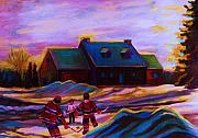 Hockey On Frozen Pond Paintings - Magical Day For Hockey by Carole Spandau