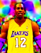 Sports Drawings Prints - Magical Dwight Howard Laker Print by Paul Van Scott
