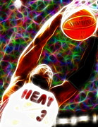 Dwyane Wade Metal Prints - Magical Dwyane Wade Metal Print by Paul Van Scott