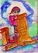 Claus Mixed Media Posters - Magical Elf Poster by Helena Bebirian
