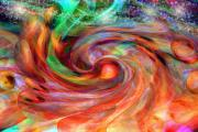 Rainbow Colors Posters - Magical Energy Poster by Linda Sannuti