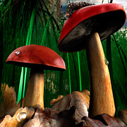 Magic Mushrooms Posters - Magical Forest Poster by Oleksiy Maksymenko