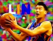 Jeremy Lin Framed Prints - Magical Jeremy Lin Framed Print by Paul Van Scott