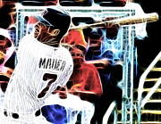 Baseball Bat Mixed Media Framed Prints - Magical Joe Mauer Framed Print by Paul Van Scott