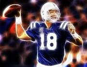 Quarterback Drawings - Magical Manning by Paul Van Scott
