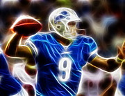Matt Mixed Media Prints - Magical Matthew Stafford Print by Paul Van Scott