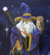 Merlin  Posters - Magical Merlin Poster by Sundara Fawn