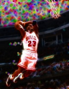 Dunking Drawings Prints - Magical Michael Jordan White Jersey Print by Paul Van Scott