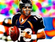 Denver Broncos Drawings Prints - Magical Peyton Manning Borncos Print by Paul Van Scott