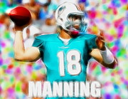 Player Drawings Posters - Magical Peyton Manning Miami Dolphins Poster by Paul Van Scott