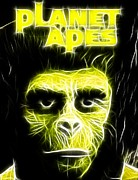 Chimpanzee Drawings Posters - Magical Planet of the Apes Poster by Paul Van Scott