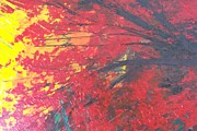 Pallet Knife Prints - Magical Red Tree Print by Shilpi Singh