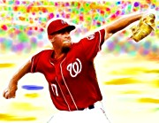 Washington Nationals Drawings Metal Prints - Magical Stephen Strasburg Metal Print by Paul Van Scott