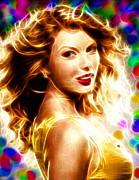 Taylor Swift Drawings - Magical Taylor Swift by Paul Van Scott