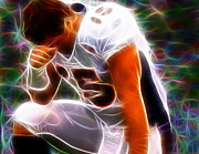 Football Drawings Metal Prints - Magical Tebowing Metal Print by Paul Van Scott