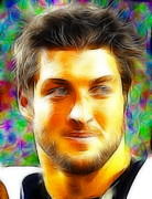 Denver Broncos Drawings Prints - Magical Tim Tebow Face Print by Paul Van Scott