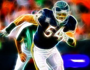 Chicago Drawings Metal Prints - Magical Urlacher Metal Print by Paul Van Scott