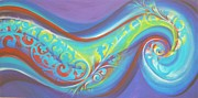 Surf Lifestyle Paintings - Magical Wave Water by Reina Cottier