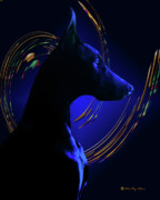 Black Dog Print Posters - Magnificent Blue Poster by Rita Kay Adams