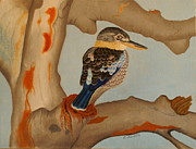 Bird Pastels - Magnificent blue-winged Kookaburra by Brian Leverton