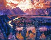 Skylight Paintings - Magnificent Grand Tetons by David Lloyd Glover